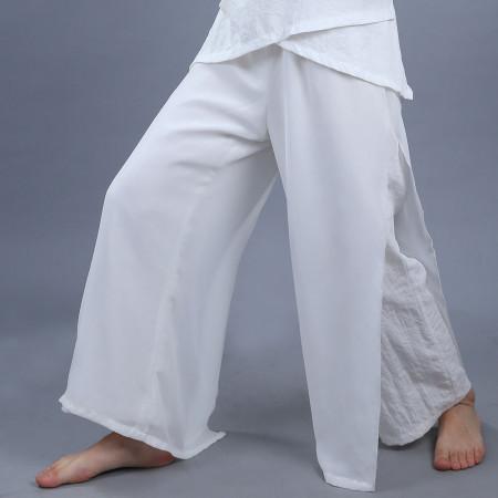 Pantalon relax en fibres naturels avec voile